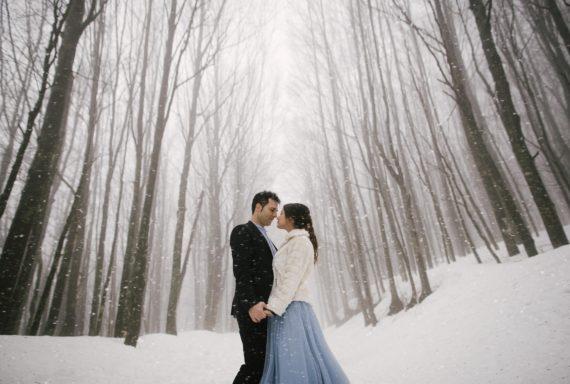 engagement session sulla neve