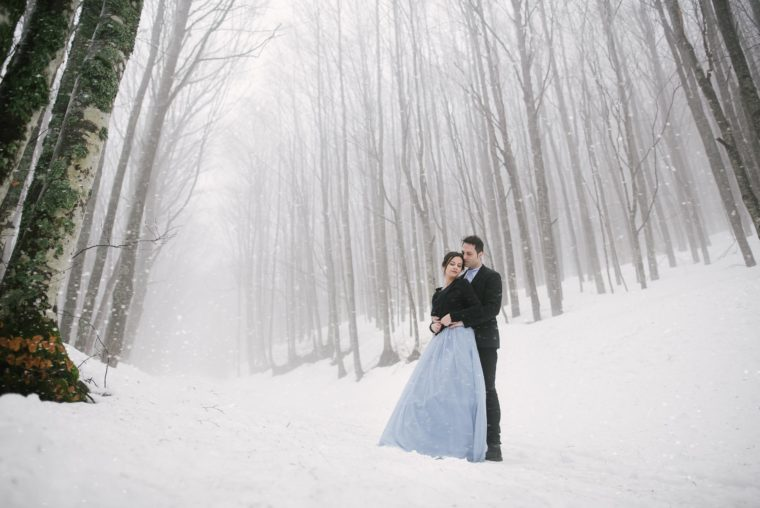engagement session sulla neve
